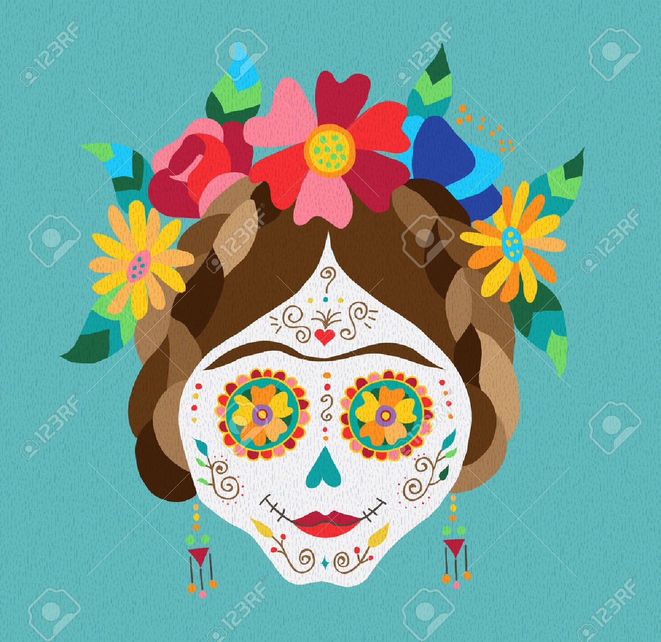hight resolution of traditional mexican catrina skull with paint decoration and colorful spring time flower arrangement on hair
