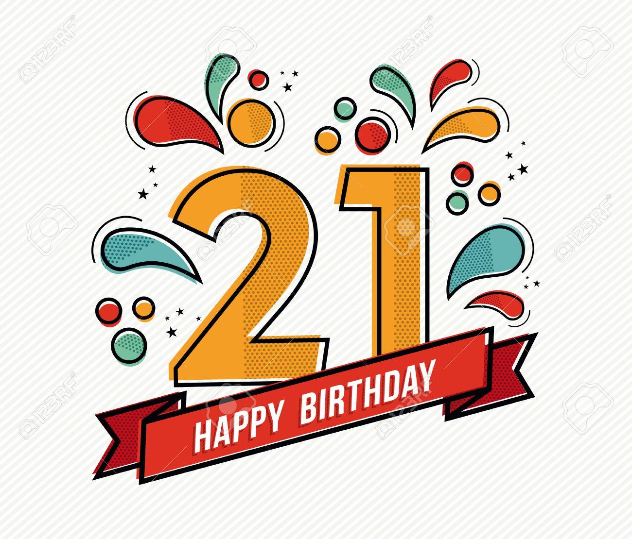 numero joyeux anniversaire 21 carte de voeux pendant vingt un an dans l art de la ligne plate moderne avec des formes geometriques colorees invitation anniversaire du parti felicitations ou de la conception
