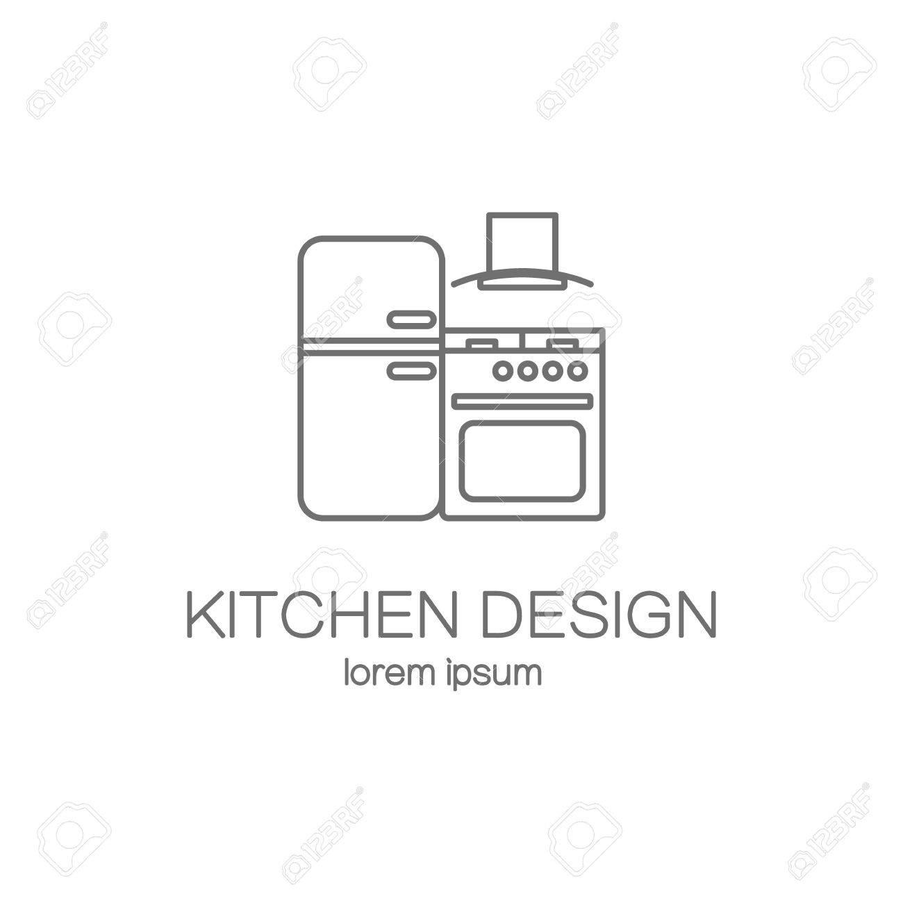 kitchen design template white chandelier line icon web logotype templates modern easy to edit logo