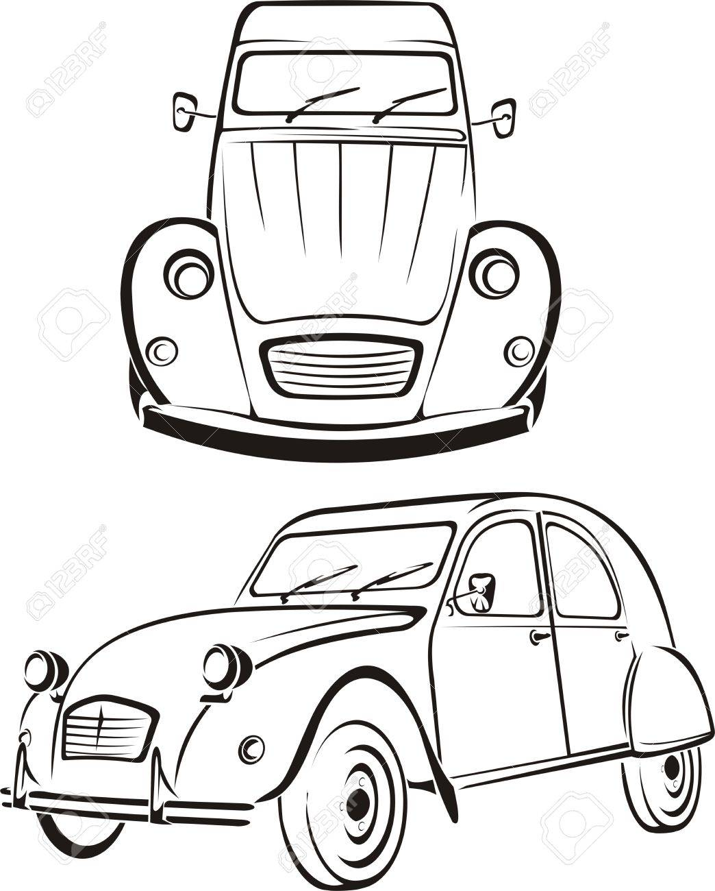 Old car old line of cars royalty free cliparts vectors and stock