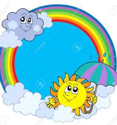 sun and clouds in rainbow circle vector illustration stock vector 4150936 [ 1300 x 1248 Pixel ]