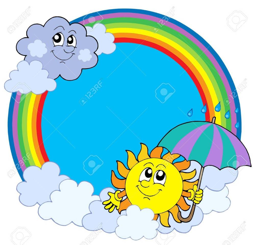 medium resolution of sun and clouds in rainbow circle vector illustration stock vector 4150936