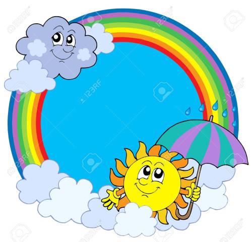 small resolution of sun and clouds in rainbow circle vector illustration stock vector 4150936