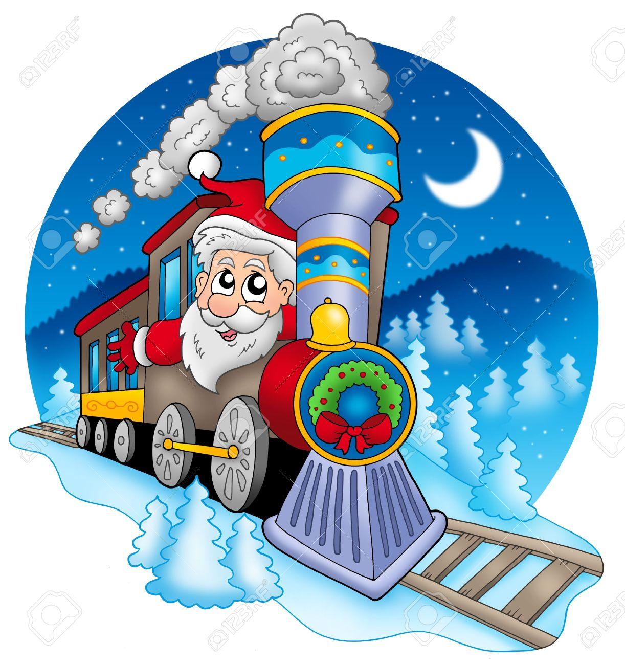 hight resolution of santa claus in train color illustration stock illustration 5682328