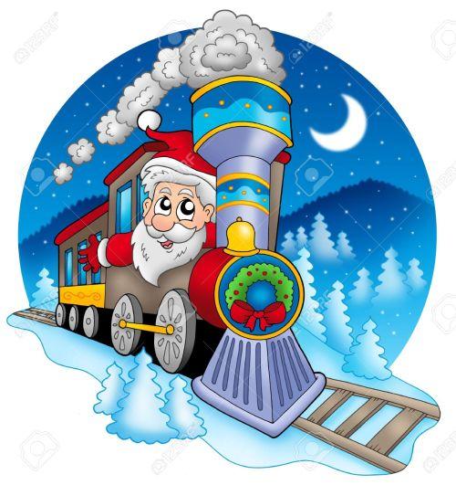 small resolution of santa claus in train color illustration stock illustration 5682328