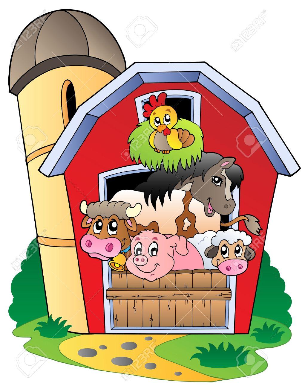 hight resolution of barn with various farm animals vector illustration stock vector 9674347