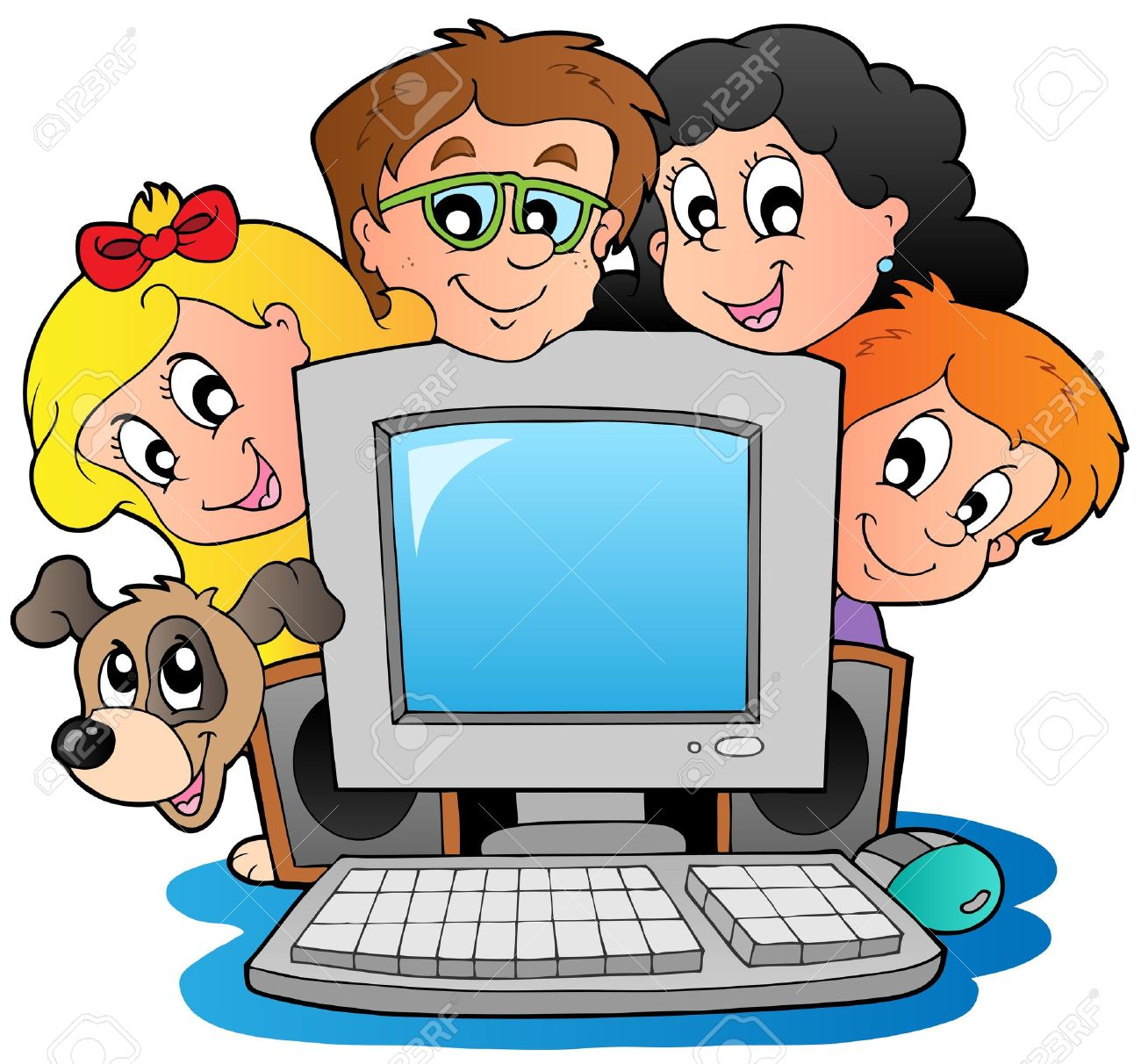 Computer With Cartoon Kids And Dog Royalty Free Cliparts Vectors And Stock Illustration Image 10354188