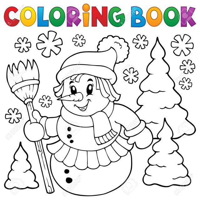 Coloring Sheet Of Snow Woman Royalty Free Cliparts, Vectors, And