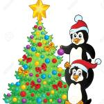 Penguins Near Christmas Tree Theme 2 Vector Illustration Royalty Free Cliparts Vectors And Stock Illustration Image 48679983