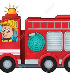 fire truck theme image vector illustration stock vector 48681116 [ 1300 x 927 Pixel ]