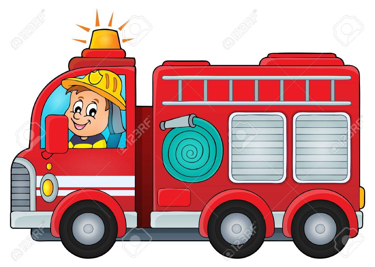 hight resolution of fire truck theme image vector illustration stock vector 48681116
