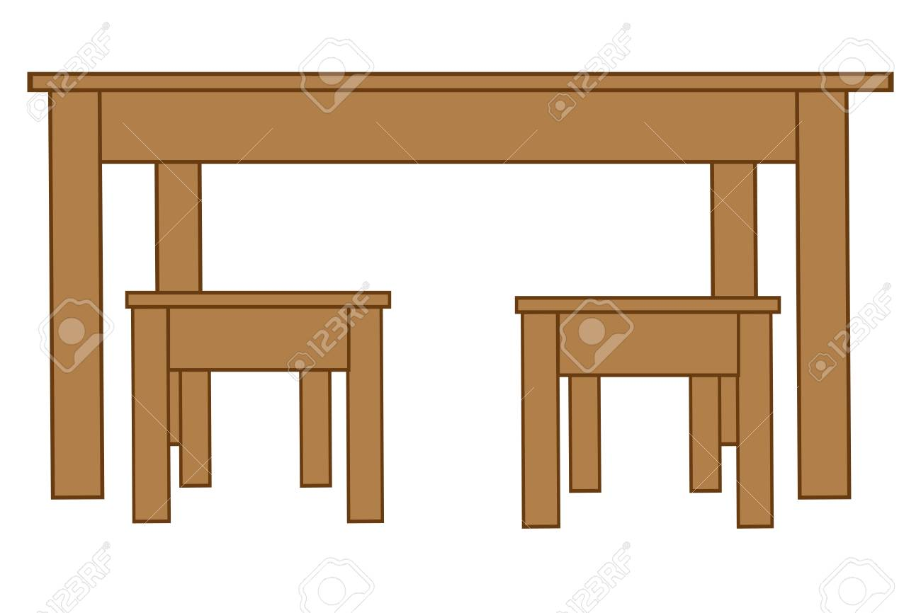 Table With Two Chairs Big Table And Two Chairs Illustration