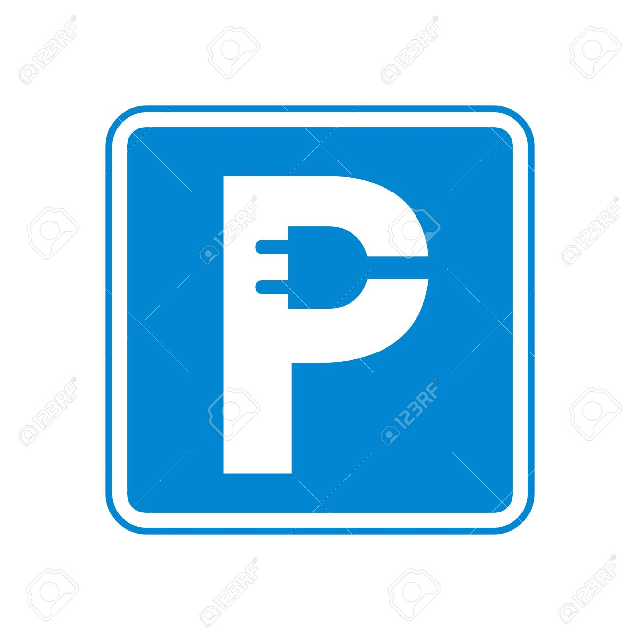 hight resolution of charging parking sign electric car plug in letter p vector illustration original idea of