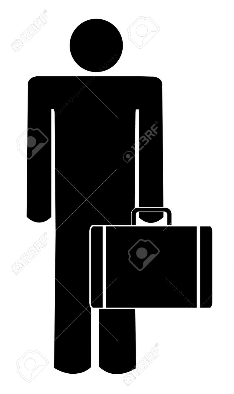 hight resolution of stick man or figure holding briefcase or suitcase stock vector 3296231