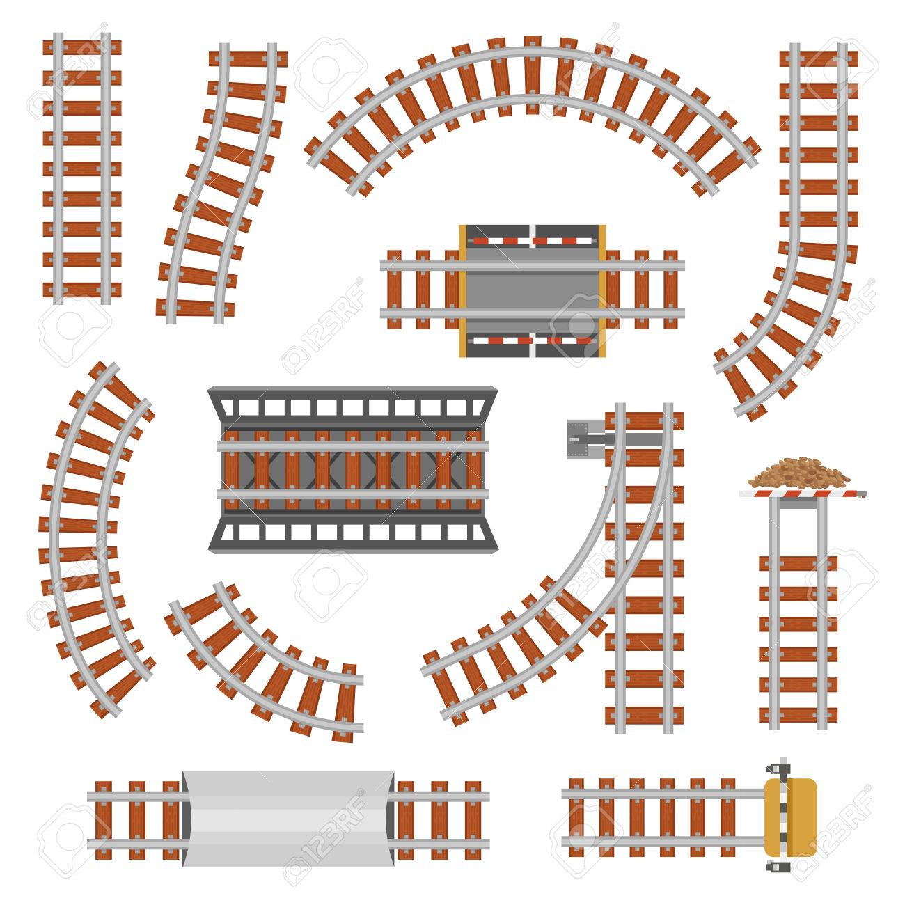 hight resolution of rail or railroad railway top view train transportation track made of steel and wood