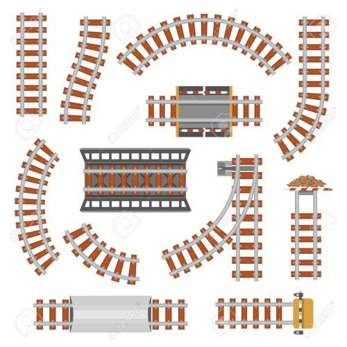 small resolution of rail or railroad railway top view train transportation track made of steel and wood