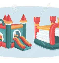 vector cartoon funny illustration of two inflatable castles trampoline in playground in park isolated objects [ 1300 x 743 Pixel ]