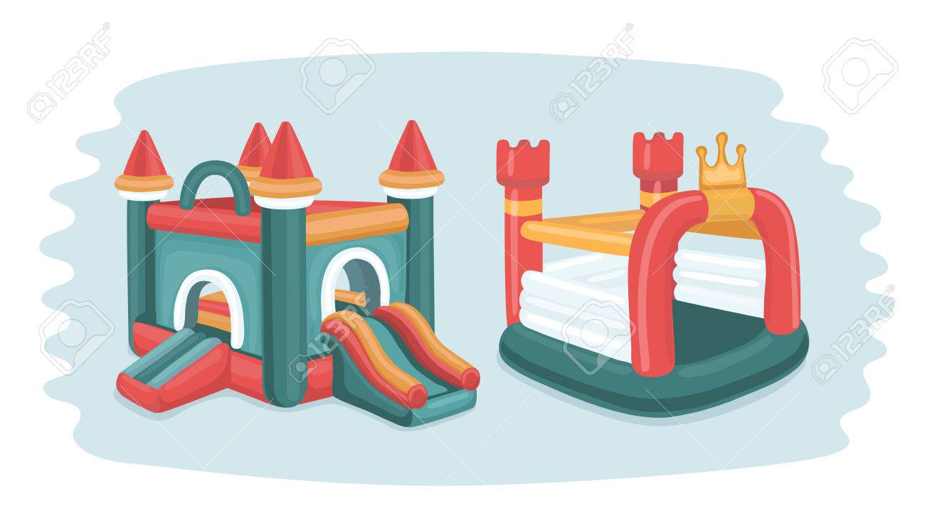 hight resolution of vector cartoon funny illustration of two inflatable castles trampoline in playground in park isolated objects