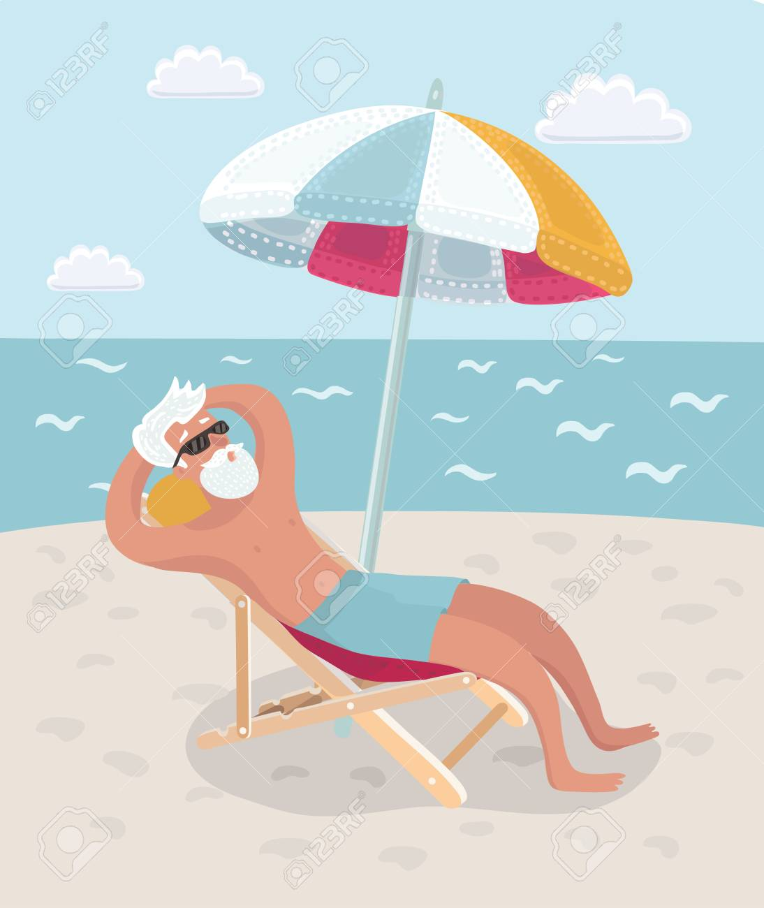 Vector Cartoon Illustration Of Retired Man On Vacation Sitting Royalty Free Cliparts Vectors And Stock Illustration Image 94064264