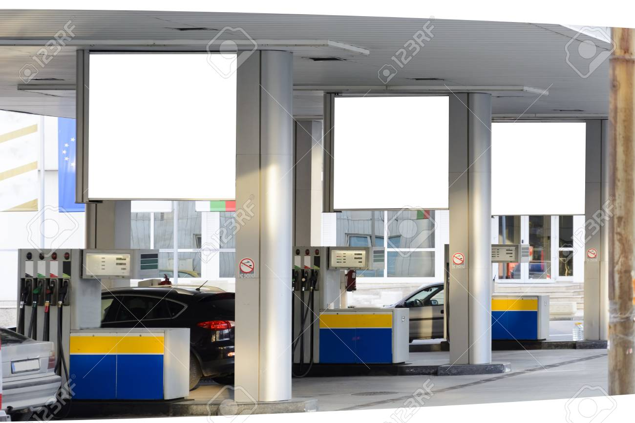 Gas station advertising places your brand messaging where it'll gain maximum traction. Blank Billboard In A Petrol Station For Your Text And Advertising Stock Photo Picture And Royalty Free Image Image 102203201