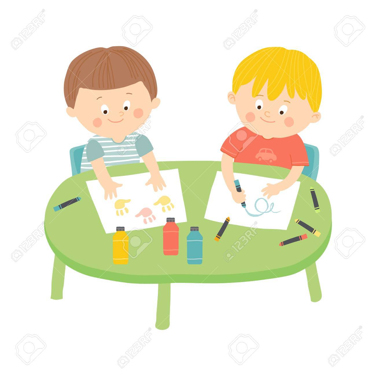 hight resolution of children drawing in art class stock vector 69431000