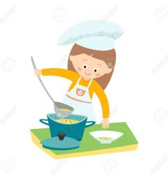 little girl cooking a soup little chef vector hand drawn clip art illustration isolated [ 1300 x 1300 Pixel ]