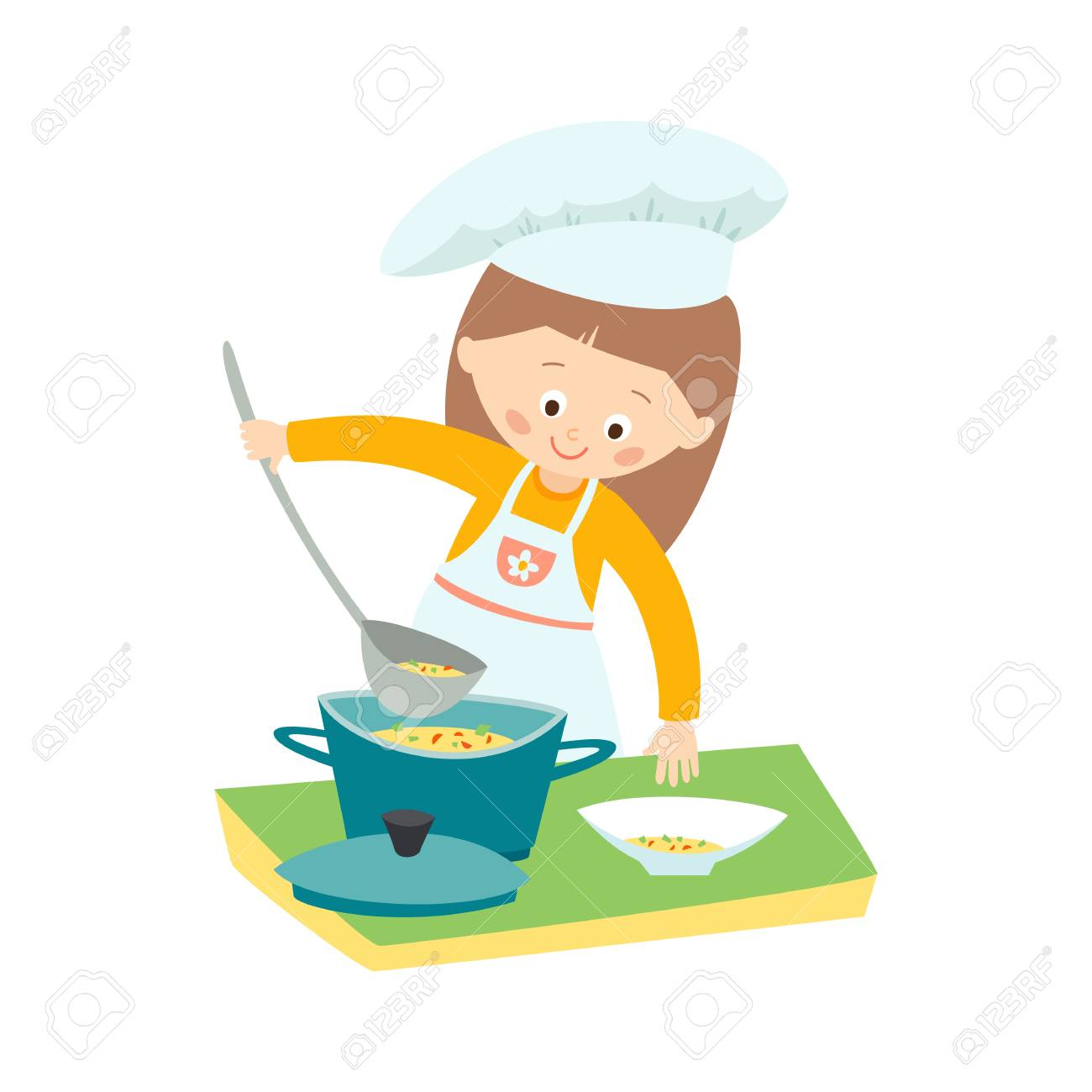 hight resolution of little girl cooking a soup little chef vector hand drawn clip art illustration isolated