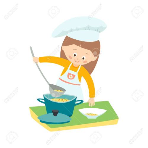 small resolution of little girl cooking a soup little chef vector hand drawn clip art illustration isolated
