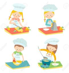 kids cooking children on a culinary class little chefs vector hand drawn clip [ 1300 x 1300 Pixel ]