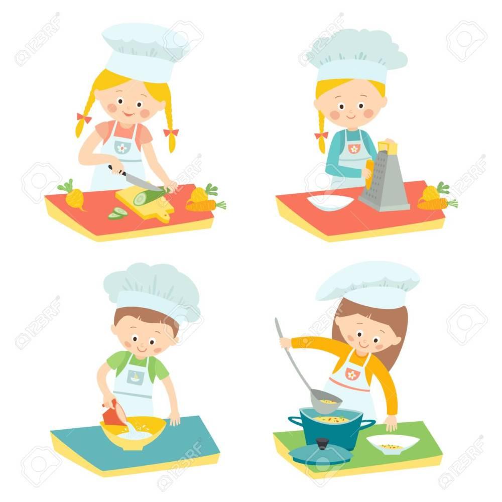 medium resolution of kids cooking children on a culinary class little chefs vector hand drawn clip