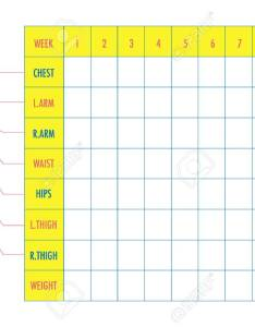 Measurement chart of body parameters for sport and diet effect tracking blank weight loss table also rh rf