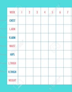 Body measurement tracking chart layout blank weight loss chest waist hips also rh rf