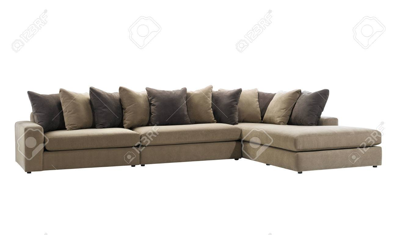 big and long l shaped sofa with pillows isolated on white background