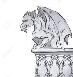 gothic gargoyle hand drawn design element vector illustration  [ 975 x 1300 Pixel ]