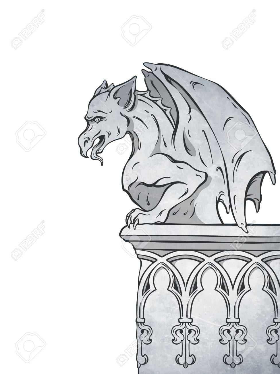 hight resolution of gothic gargoyle hand drawn design element vector illustration