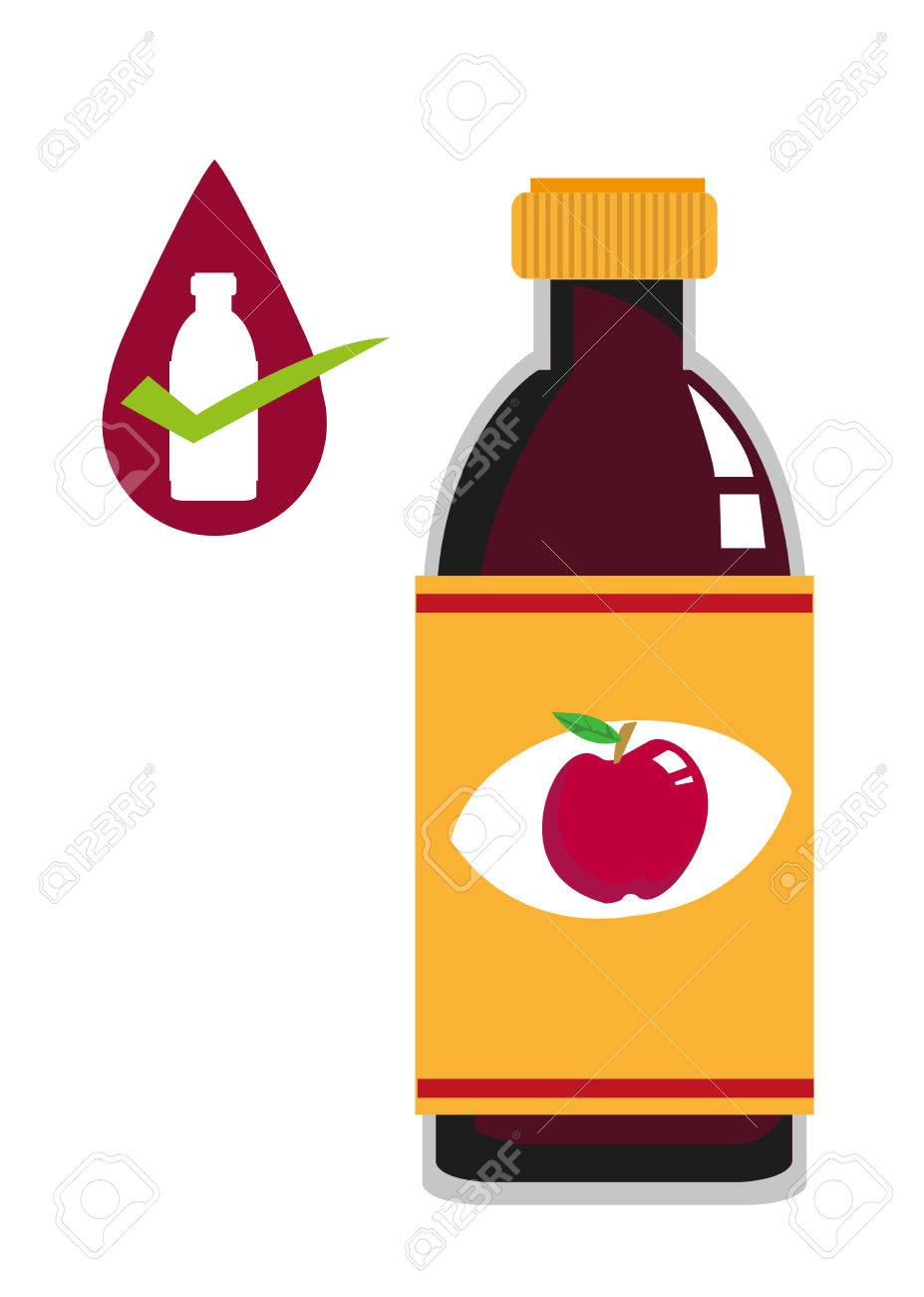 hight resolution of flat art of apple cider vinegar bottle concept editable clip art stock vector