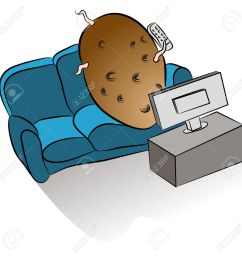 an image of a couch potato watching tv stock vector 18025582 [ 1300 x 1300 Pixel ]