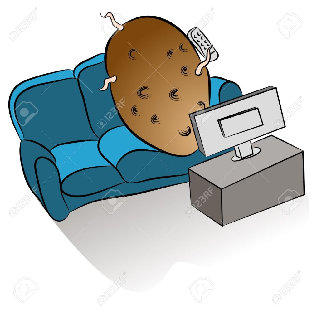 medium resolution of an image of a couch potato watching tv stock vector 18025582