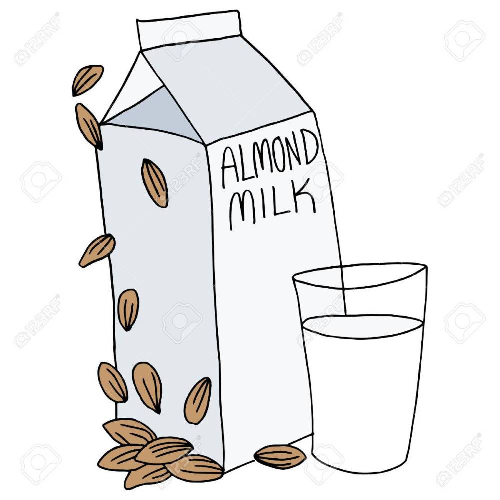 medium resolution of an image of an almond milk carton and glass stock vector 27363665