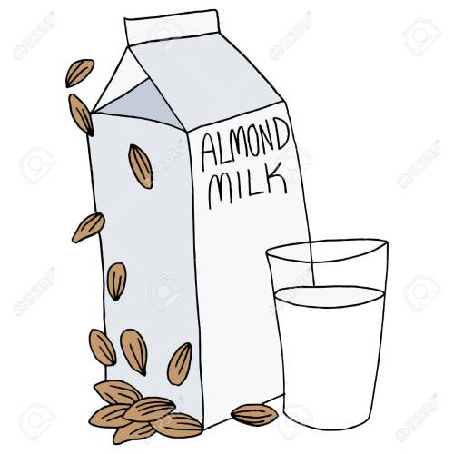 small resolution of an image of an almond milk carton and glass stock vector 27363665