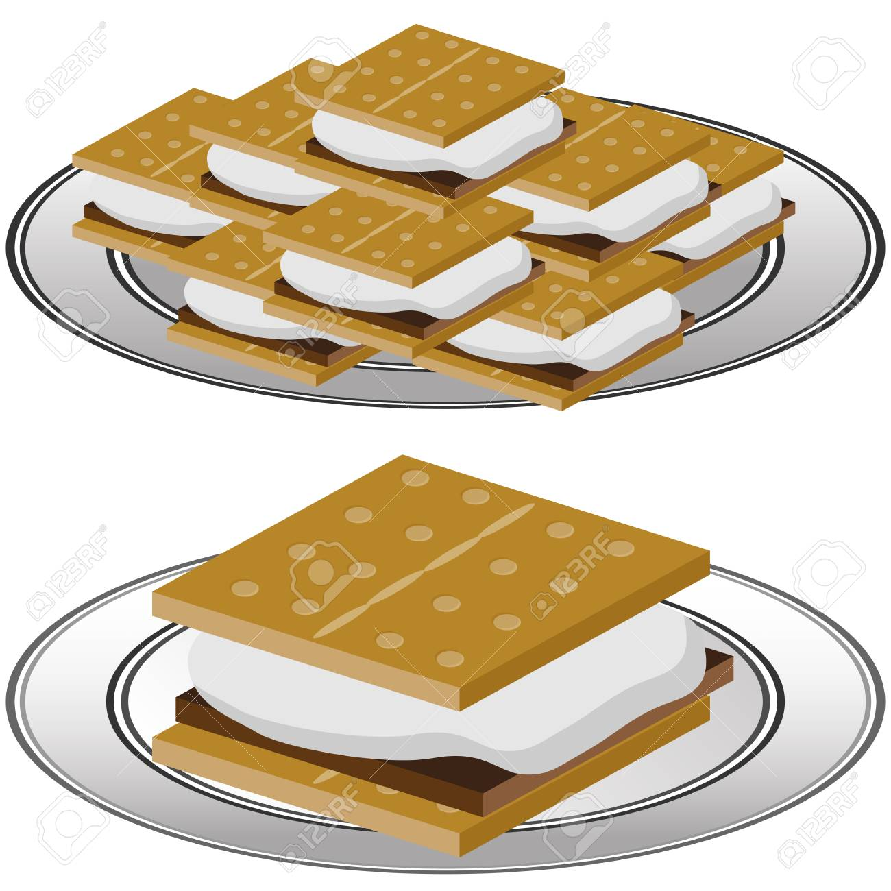hight resolution of an image of a plate of graham cracker smores isolated on a white background stock