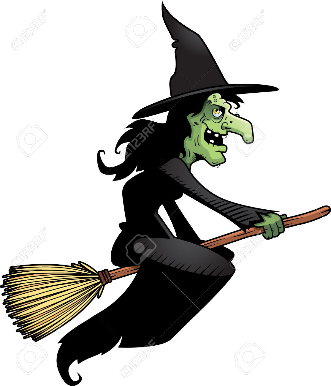 a cartoon witch flying