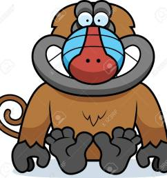 a cartoon illustration of a baboon sitting stock vector 42466444 [ 1300 x 1265 Pixel ]