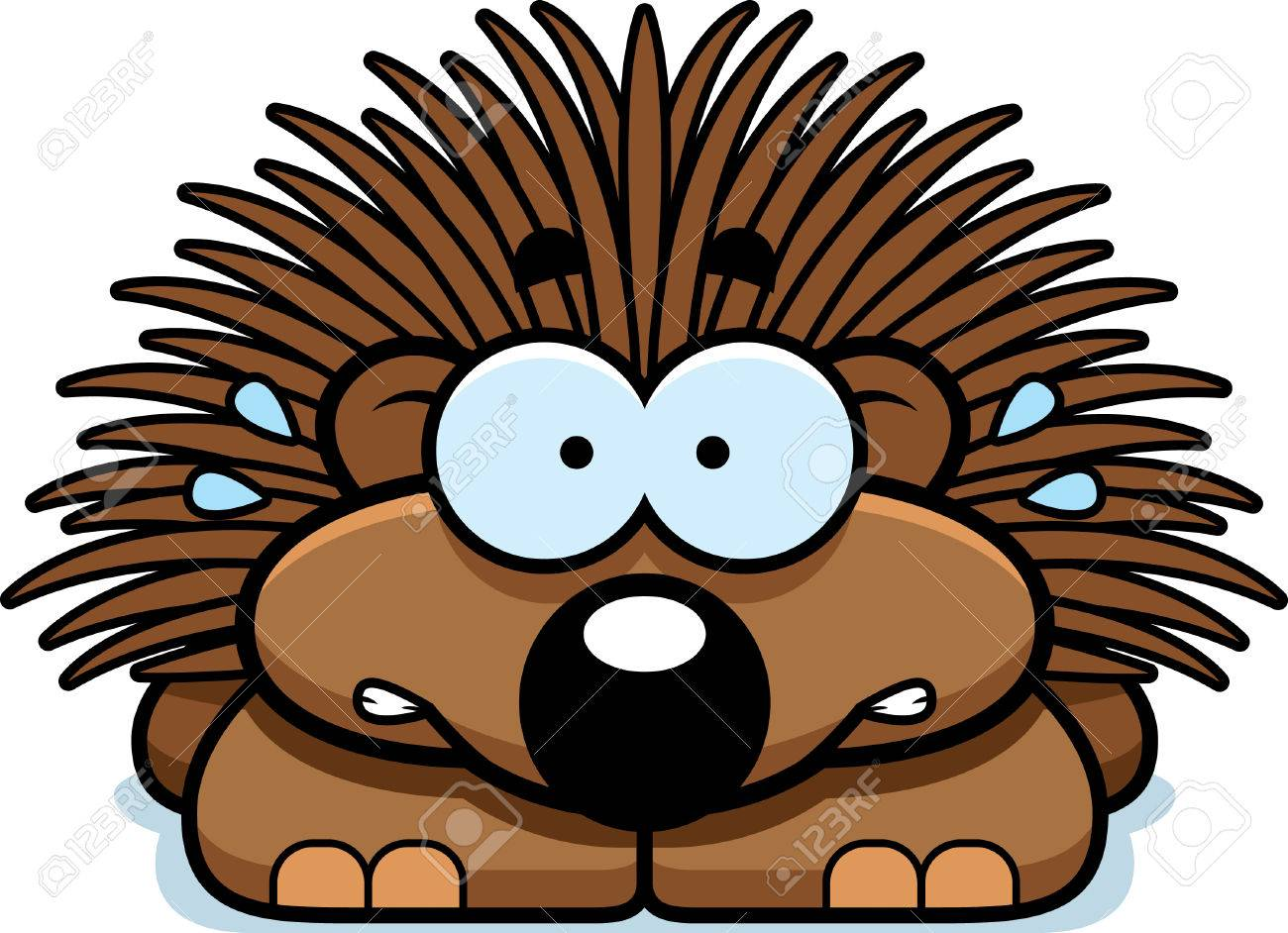 hight resolution of a cartoon illustration of a little porcupine looking nervous stock vector 42751061