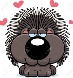 a cartoon illustration of a porcupine with an in love expression stock vector 44763098 [ 1266 x 1300 Pixel ]