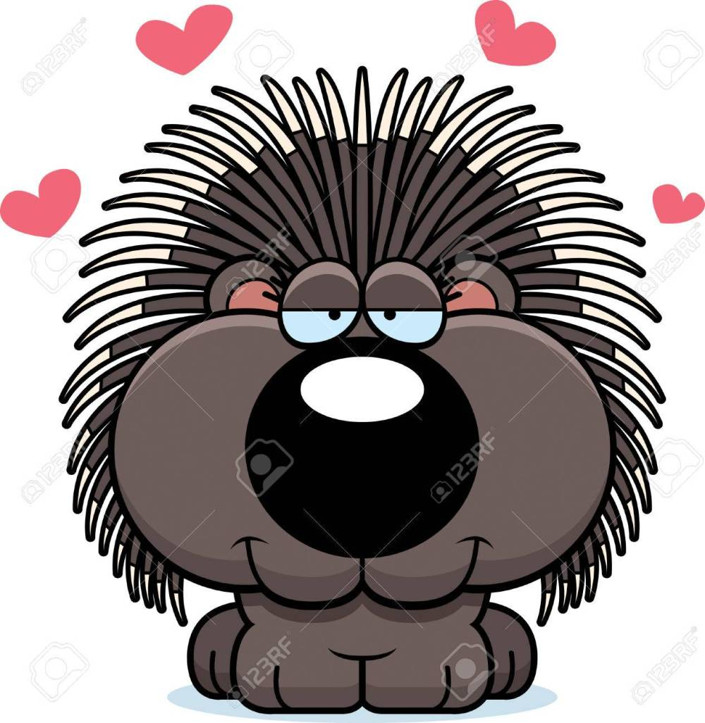 medium resolution of a cartoon illustration of a porcupine with an in love expression stock vector 44763098