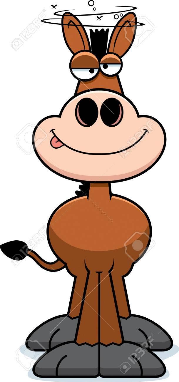 medium resolution of a cartoon illustration of a donkey looking drunk stock vector 44751927