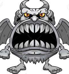 a cartoon illustration of a gargoyle with a big mouth full of sharp teeth stock [ 1300 x 1145 Pixel ]
