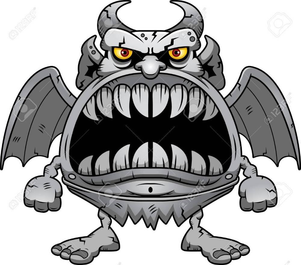 medium resolution of a cartoon illustration of a gargoyle with a big mouth full of sharp teeth stock