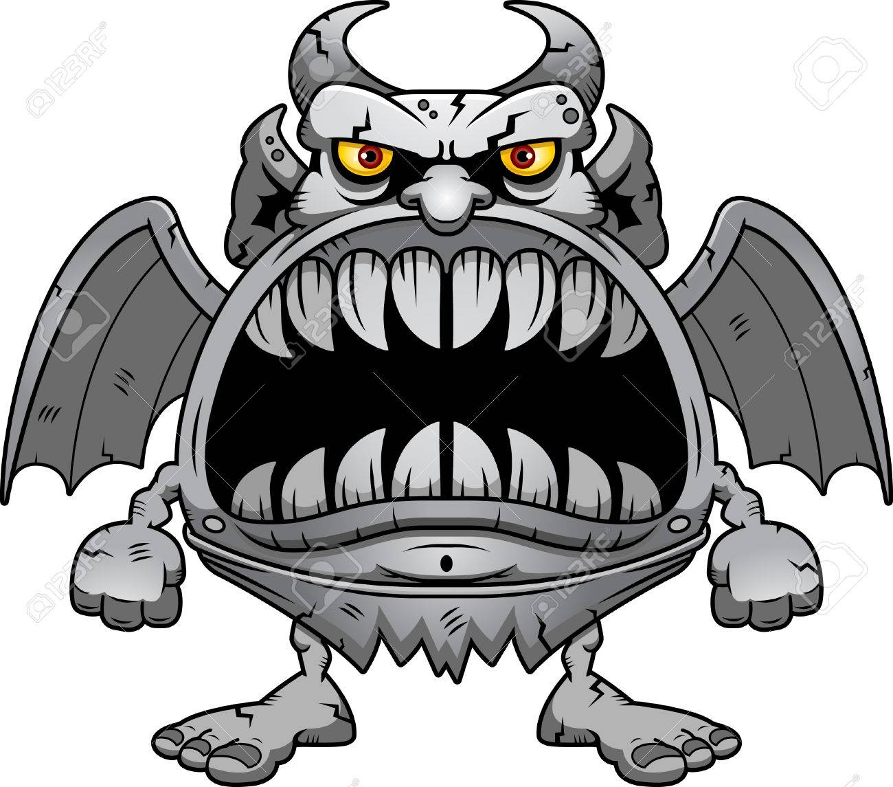 hight resolution of a cartoon illustration of a gargoyle with a big mouth full of sharp teeth stock